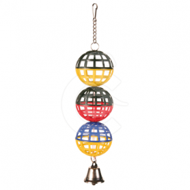 Jouet oiseau : balles avec clochette - H : 16 cm