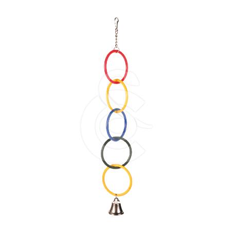 Jouet oiseau : anneaux avec clochette - H : 25 cm