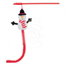 Jouet Noël chat : Canne à pêche Bonhomme de neige